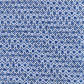 Tissu coton crétonne Saki - blanc/bleu x 10cm