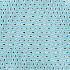 Cretonne cotton Fabric Saki - turquoise/white x 10 cm