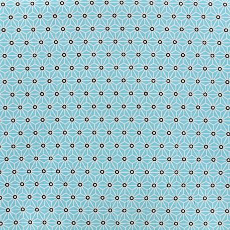 Tissu coton crétonne Saki - turquoise/blanc x 10cm
