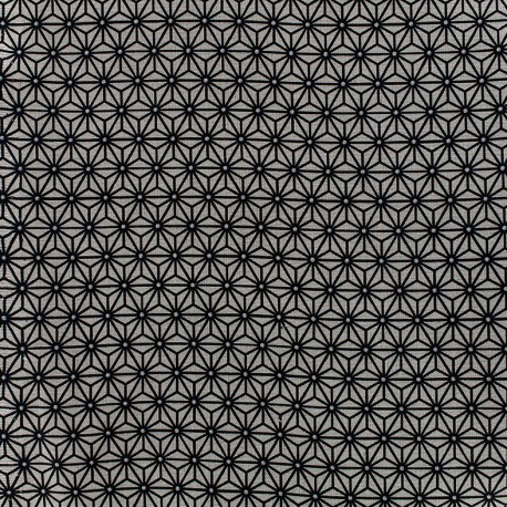 Cretonne cotton Fabric Saki - grey/indigo x 10 cm