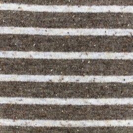 Tissu jersey maille tricot rayé - blanc/marron x 10cm