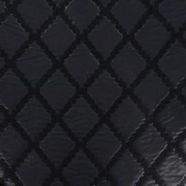 Tissu jacquard brodé aspect matelassé - marine x 10cm