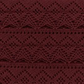 Spindled Lace ribbon 43mm Ribbon - carmine x 50cm