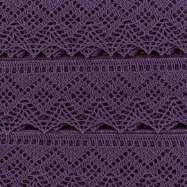 Ruban Dentelle au fuseau 43mm - violet x 50cm