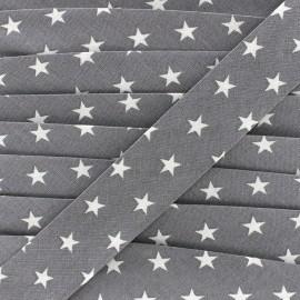 Biais coton Stars 30 mm - gris x 1m