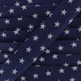 Biais coton Stars 30 mm - marine x 1m