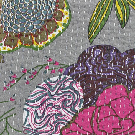 Kantha embroidered cotton fabric Ananas - grey x 10cm