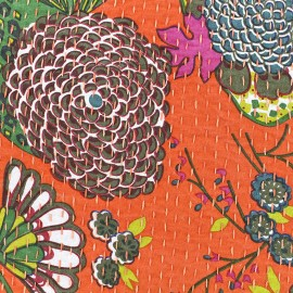 Tissu coton brodé Kantha Ananas - orange x 10cm