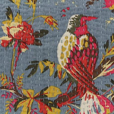 Kantha embroidered cotton fabric Oiseau - blue x 10cm