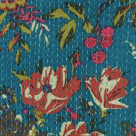Tissu coton brodé Kantha Oiseau - canard x 10cm