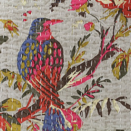 Kantha embroidered cotton fabric Oiseau - white x 10cm