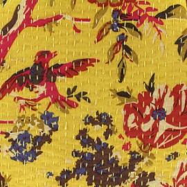 Tissu coton brodé Kantha Oiseau - safran x 10cm