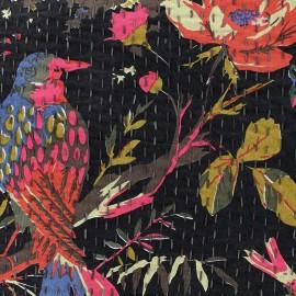 Tissu coton brodé Kantha Oiseau - anthracite x 10cm