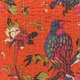 Kantha embroidered cotton fabric Oiseau - orange x 10cm