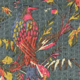 Kantha embroidered cotton fabric Oiseau - steel x 10cm