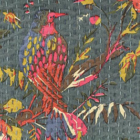 Tissu coton brodé Kantha Oiseau - acier x 10cm