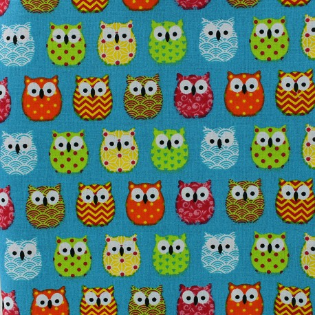 Cretonne cotton Fabric Mini Hiboux - turquoise x 10cm