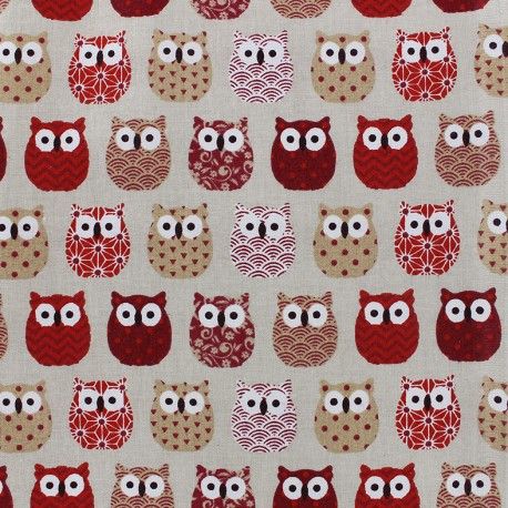 Cretonne cotton Fabric Mini Hiboux - red x 10cm