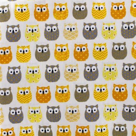 Tissu coton crétonne Mini Hiboux - jaune x 10cm