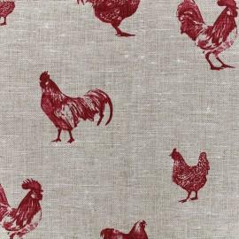 Tissu toile lin Farmers - rouge x 31cm