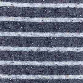 Striped stitch mool jersey fabric - white/navy x 10cm