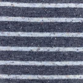 Tissu jersey maille tricot rayé - blanc/marine x 10cm