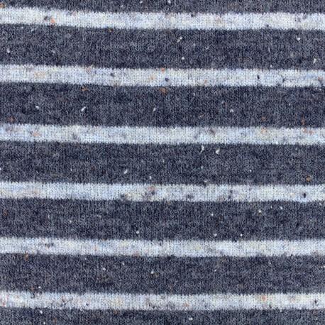 Striped stitch mool jersey fabric - white/navy x 10cm