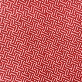 Tissu enduit coton Poppy Square - rouge x 10cm