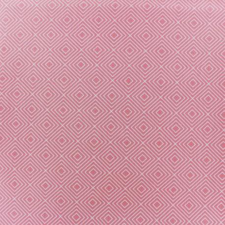 Tissu enduit coton Poppy Square - blanc/rose clair x 10cm