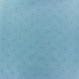 Coated cotton fabric Poppy Square - white/light blue x 10cm