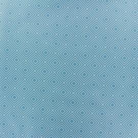 Tissu enduit coton Poppy Square - blanc/bleu clair x 10cm