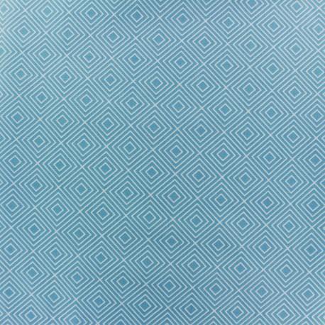 Coated cotton fabric Poppy Square - white/light blue x 10cm