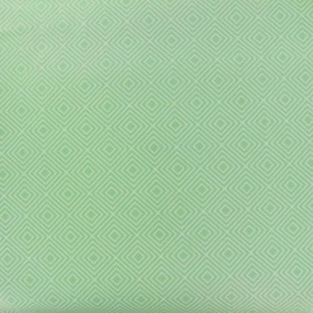Coated cotton fabric Poppy Square - white/jade green x 10cm