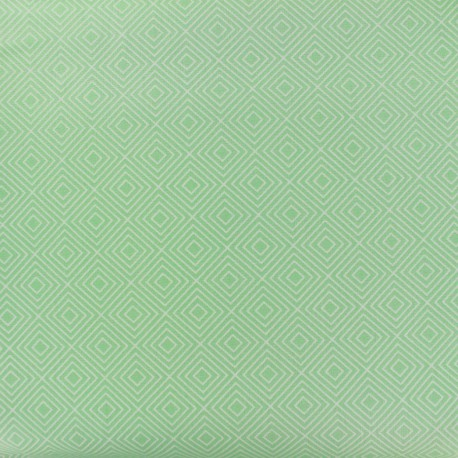 Tissu enduit coton Poppy Square - blanc/vert jade x 10cm