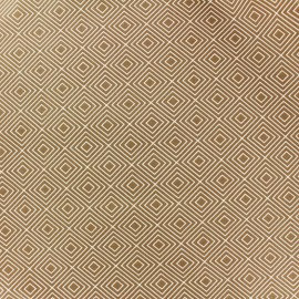 Coated cotton fabric Poppy Square - white/dark beige x 10cm