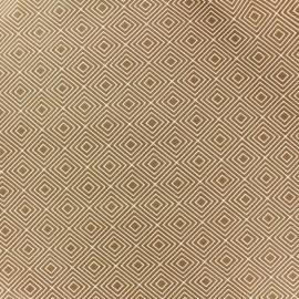 Tissu enduit coton Poppy Square - blanc/beige foncé x 10cm