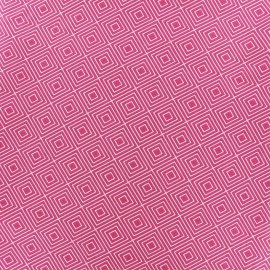 Coated cotton fabric Poppy Square - white/fuchsia x 10cm