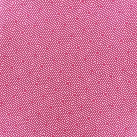 Coated cotton fabric Poppy Square - white/fuchsia x 10cm