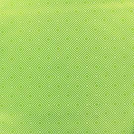 ♥ Coupon 100 cm X 145 cm ♥ Tissu enduit coton Poppy Square - blanc/vert clair