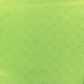 Tissu enduit coton Poppy Square - blanc/vert clair x 10cm