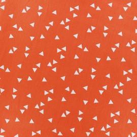 ♥ Coupon 25 cm X 145 cm ♥ Coated cotton fabric Poppy Triangle - white/orange