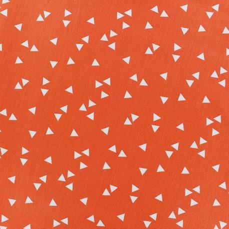 Tissu enduit coton Poppy Triangle- blanc/orange x 10cm