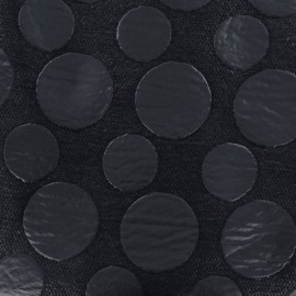 Tissu jacquard brodé aspect matelassé Circle - marine x 10cm