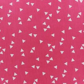 Tissu enduit coton Poppy Triangle- blanc/fuchsia x 10cm