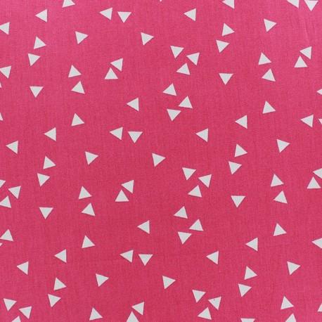 Coated cotton fabric Poppy Triangle - white/fuchsia x 10cm