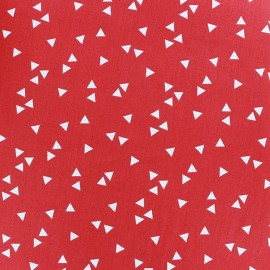 Tissu enduit coton Poppy Triangle- blanc/rouge x 10cm