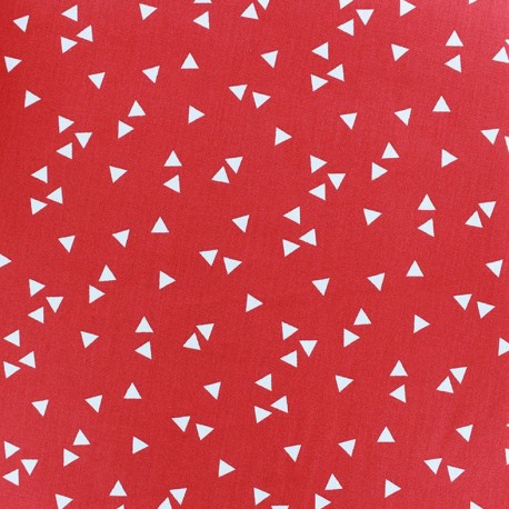 Coated cotton fabric Poppy Triangle - white/red x 10cm