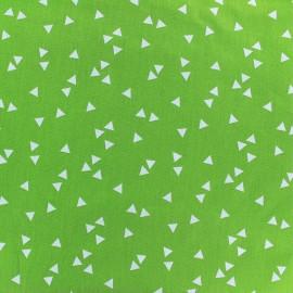 Tissu enduit coton Poppy Triangle - blanc/vert clair x 10cm
