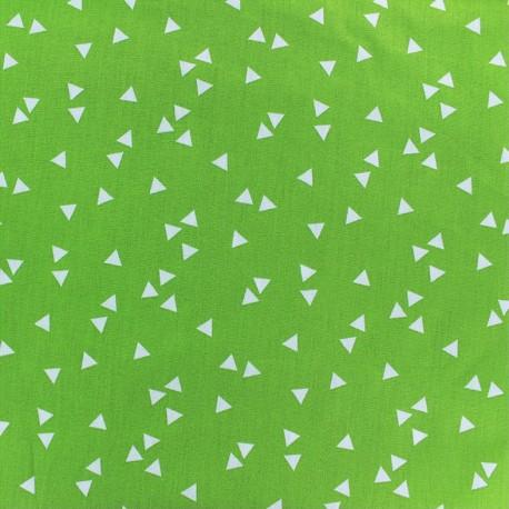 Tissu enduit coton Poppy Triangle- blanc/vert clair x 10cm