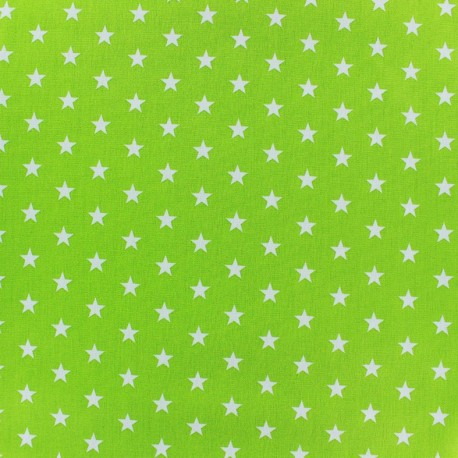 Tissu enduit coton Poppy Etoile - blanc/vert clair x 10cm